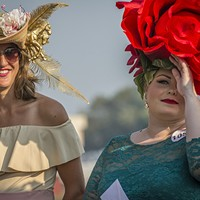 Heather Bellinger and Paulette Hanson looking blooming lovely on Ladies Hat Day.