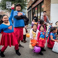 A super family touched down in Old Town for Halloween trick or treating.