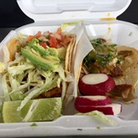 Left to right: The shrimp and buche tacos from Tacos El Gallo.