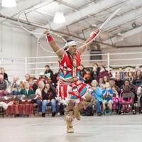 Sage Andrew Romero, of Pine Valley performs the Hoop Dance.