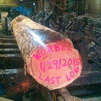 The last log to come off the Korbel Mill when it closed in 2015. The mill had been in operation on and off since 1884.