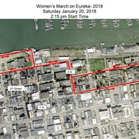 Women's March on Eureka route map.