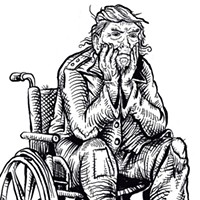Donald Trump as a Homeless and Disabled Elderly Person