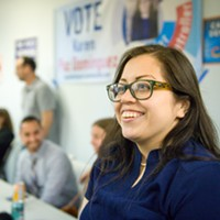 Karen Paz Dominguez flashes a smile as she watches the results come in.