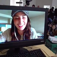 Sara Bareilles chats with Eureka High School students on Skype.