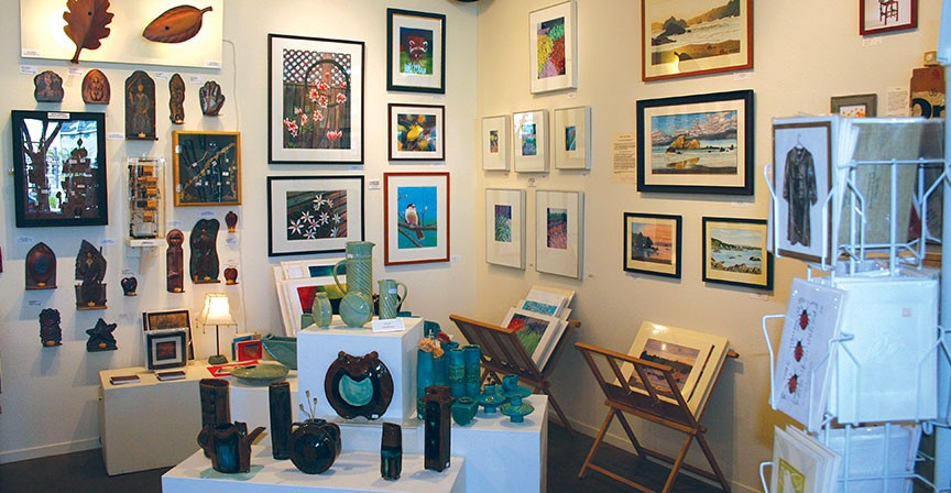 Smaller, affordable works share space with costlier ones at the Arcata Artisans cooperative. - PHOTO BY KEN WEIDERMAN