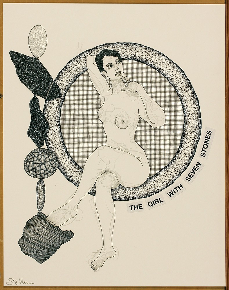 """Steven Vander Meer's """"The Girl with Seven Stones,"""" graphite and India ink on paper, 2018. - COURTESY OF THE ARTIST"""