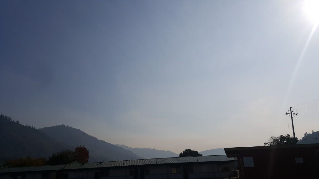 Smoke from the Signboard Fire rising over Hoopa. - COURTESY OF WES CRAWFORD
