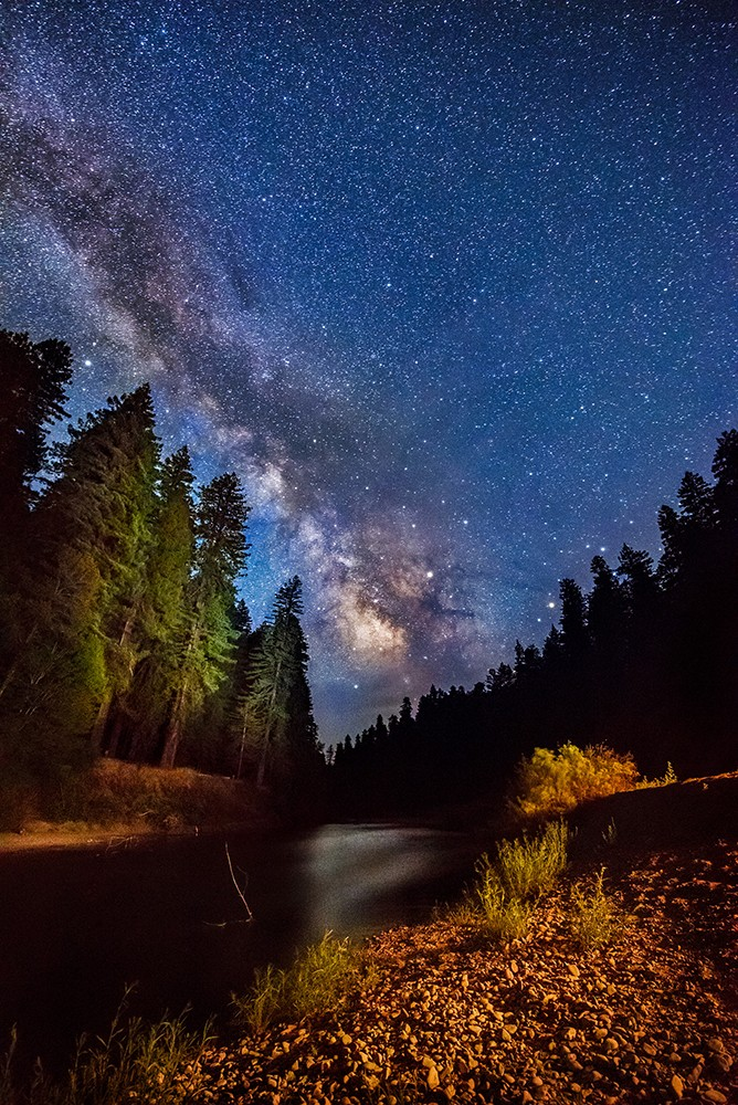 Coursing among giant redwoods in Humboldt Redwoods State Park, the South Fork Eel River slipped quietly by the California Federation of Women's Clubs Grove, while the Milky Way made its silent passage across the sky. June 24, 2017. - PHOTO B Y DAVID WILSON