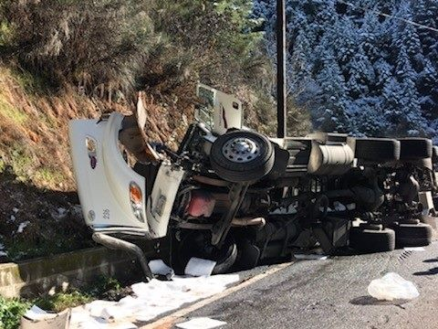 The overturned gas tanker. - CALTRANS