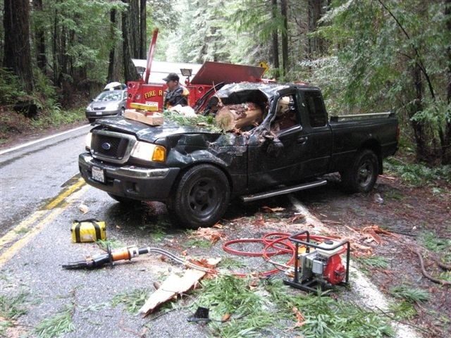 The Dueys' truck after the accident - CHP PHOTOS