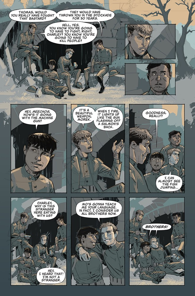 "Lowry: ""This is the most poignant page in the book to me. The young men are having a last meal before going to war. The lighting Rahsan uses is perfect: The sun's rays are fading, the men's youthfulness is going away forever. The color shading is soft, the last words are ""Brothers."" The very next page shows the old man Pershing talking and sending the boys to the fight. Because it's always old men who send young men to battle and death... The battle scenes feature the Native men in central casting. We view the emotions and horrors through their facial expressions, which is something I've never seen in any war movies, comics or books."" - COMIC WRITTEN BY CHAG LOWRY, ILLUSTRATED BY RAHSAN EKEDAL"