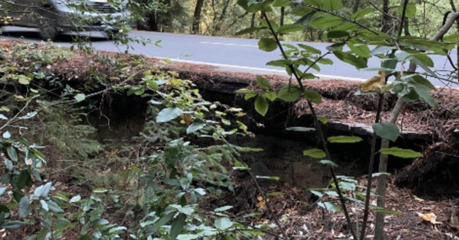 A culvert area in Whitmore Grove west of Redway is failing and undercutting the asphalt. - PHOTO PROVIDED BY SUPERVISOR ESTELLE FENNELL