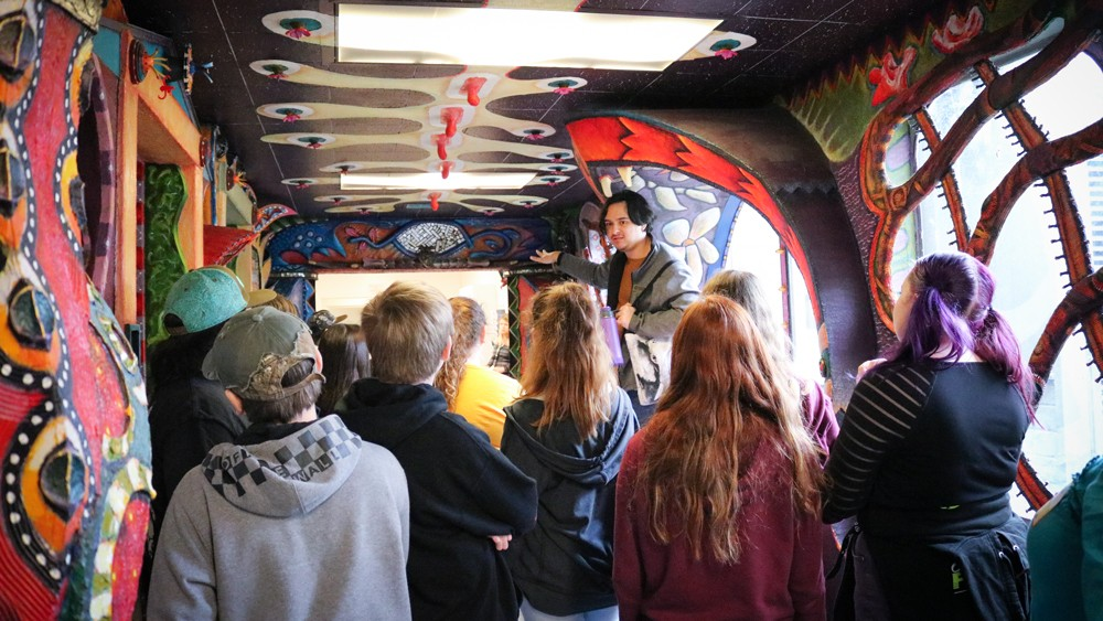 """HSU student ambassador Garrett Vallejo gives a tour of the HSU Art Building during an """"I've Been Admitted to College"""" tour. - PHOTO BY IRIDIAN CASAREZ"""