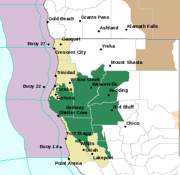 Areas in green are under a flash flood watch. - NWS