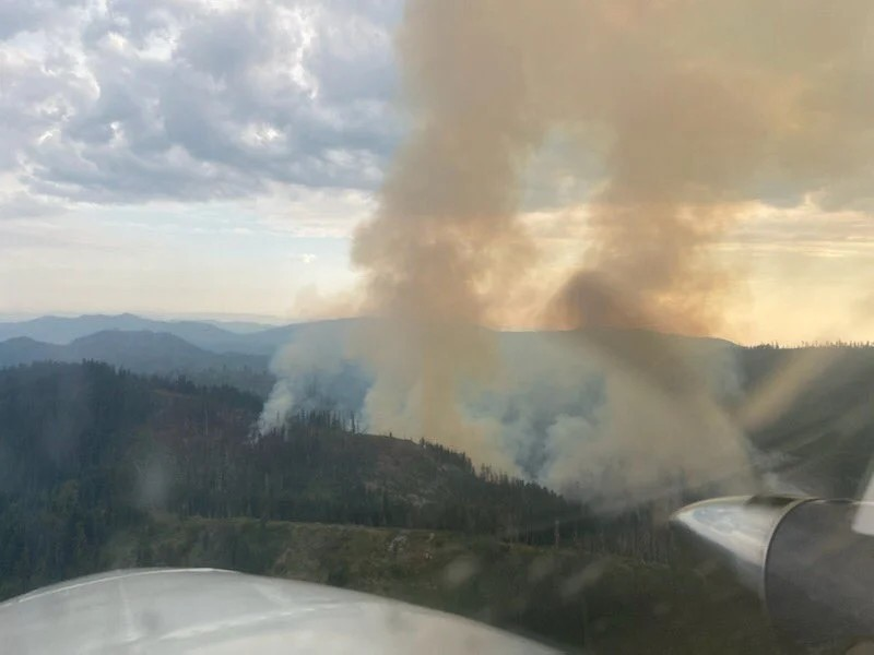 The Salmon Fire east of Weitchpec burning late Monday evening. - SHASTA TRINITY NATIONAL FOREST SERVICE