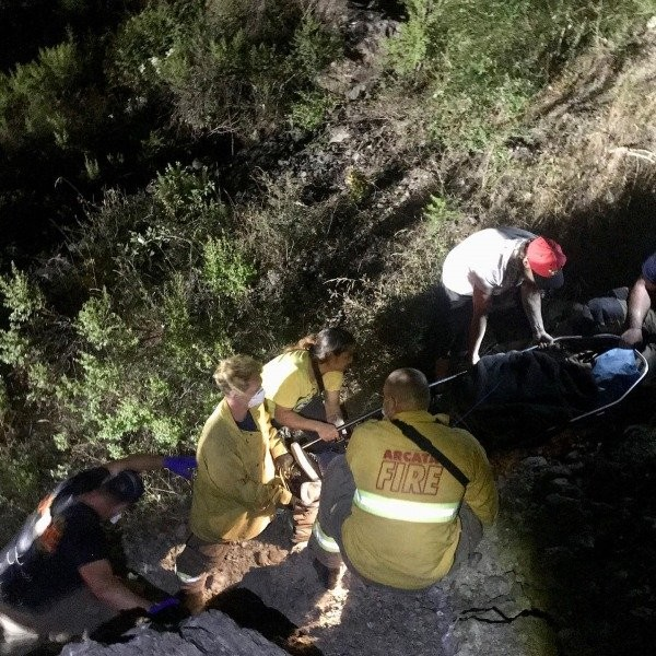 Arcata Fire packing out the injured man. - [ALL PHOTOS FROM ARCATA FIRE]