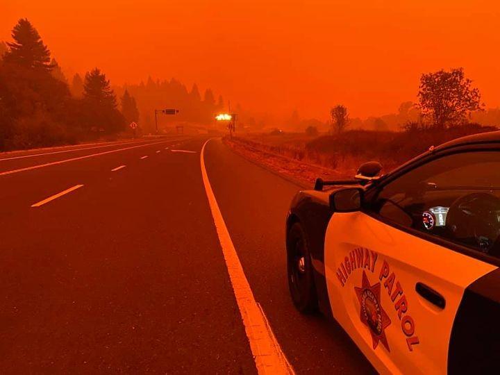 The smoky scene near the Oak Fire. - GARBERVILLE CHP