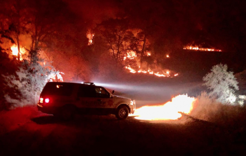 """This was last night just past the Eel River Work Center on FH7. Sad that the #AugustComplex fire is the largest in recorded history."" - MENDOCINO COUNTY SHERIFF'S DEPARTMENT]"