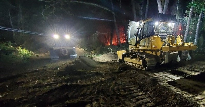 Dozers on the August Complex fireline night before last. - PHOTO BY BRIAN PAULA