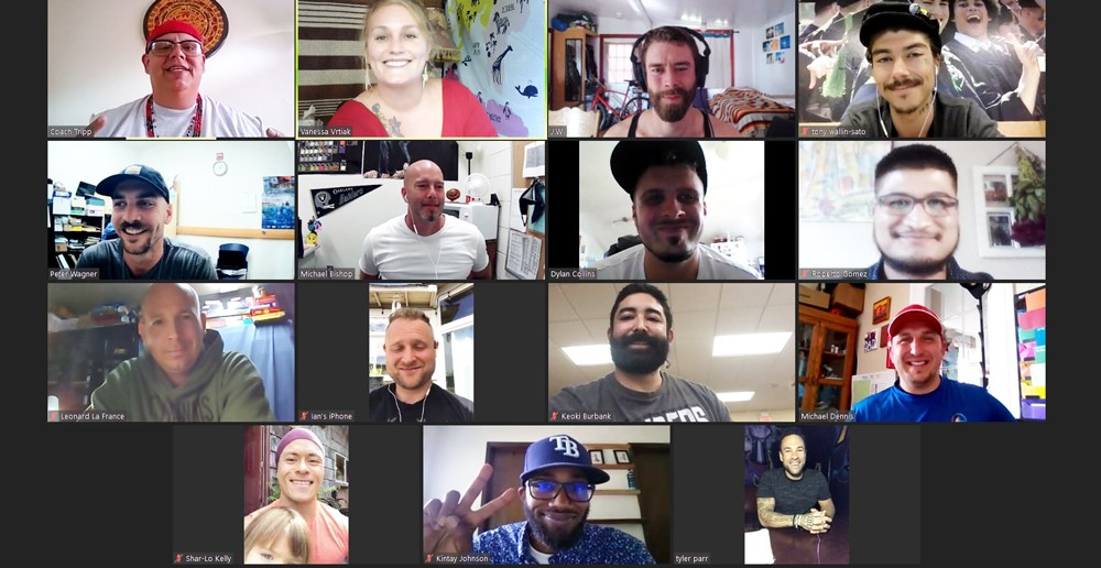 A virtual group photo of the volunteer mentors of the Humboldt Independent Practice Association's Boys to Men group, which piloted at McKinleyville Middle School last year before expanding to multiple campuses for this school year. - SUBMITTED