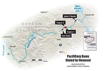 The four PacifiCorp dams along the Klamath River that the KBRA would have removed.