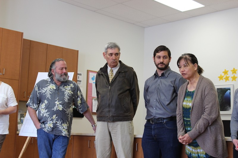 HumCPR founder Lee Ulansey, Eureka Mayor Frank Jager, HumCPR Executive Director Alec Ziegler and Betty Chinn (from left to right) at today's press conference. - THADEUS GREENSON