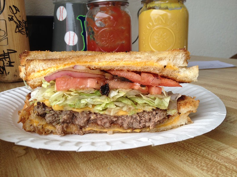 The Bomber Burger, sandwiched between sandwiches. - JENNIFER FUMIKO CAHILL