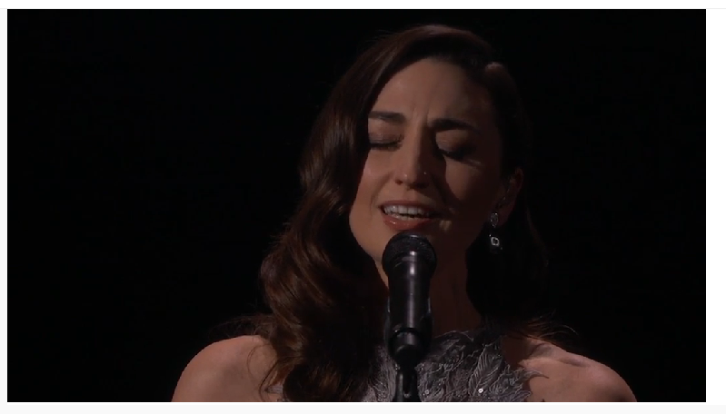 Sara Bareilles sings Joni Mitchell at the Academy Awards. - FROM OSCAR.GO.COM