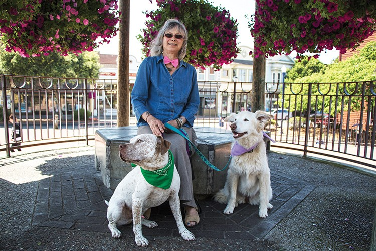 Geraldine Goldberg with her dogs. - PHOTO BY JILLIAN BUTOLPH