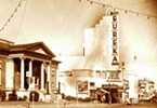 A 1946 photograph showing the intact sign. Architect William B. David brought the Streamline Art Moderne style to the North Coast, designing gorgeous theaters in Marin, Arcata and Eureka.