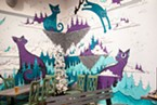 Arts and Drafts' cool and quirky interior, with mural by Bradnon Mononoke.