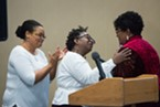 Eureka NAACP President Sharrone Blanck (left) and Lorna Bryant (center) welcome Shirley Powell as she is honored for her service to the NAACP.