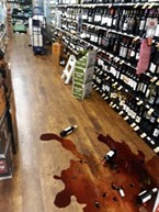 Wine spill in Redway after the quake.