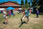 Jeff Kelley of McKinleyville dances to Celtic Rock Band Tempest on Sunday. Kelley was also preforming at the Highland Games with the Vanishing Pints as and running sound for the two-day event.