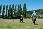 Michelle Mattson tosses a caber at the Highland Games in Blue Lake.