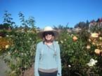 Elaine in Humboldt Botanical Garden's Rose Garden. Photo by June Walsh.