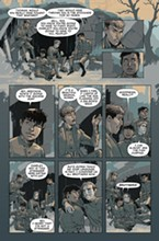 "Lowry: ""This is the most poignant page in the book to me. The young men are having a last meal before going to war. The lighting Rahsan uses is perfect: The sun's rays are fading, the men's youthfulness is going away forever. The color shading is soft, the last words are ""Brothers."" The very next page shows the old man Pershing talking and sending the boys to the fight. Because it's always old men who send young men to battle and death... The battle scenes feature the Native men in central casting. We view the emotions and horrors through their facial expressions, which is something I've never seen in any war movies, comics or books."""