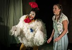 Billina the Chicken (H. Veenadari Lakshika Jayakody) meets up with Dorothy (Sara Kei Wegmüller) in Oz after the tornado.