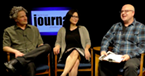 New editor Thad Greenson, arts and features editor Jennifer Fumiko Cahill and host David Frank.