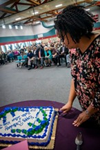 A birthday cake for Dr. Martin Luther King, Jr. was offered by Sharrone Blanck to attendees at the end of the event (he was born on Jan. 15, 1929).