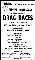 An advertisement for the Samoa races from 1961.