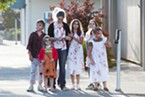 A family of zombies waits for the light at the corner of Fifth and I streets in Eureka.