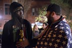 """President-elect Donald Trump supporter Chris LeRoy, right, explains his position to anti-Trump demonstrator Leon Stewart. LeRoy came to the Gazebo to counter protest a demonstration against Trump. Stewart, an HSU student, said after their encounter, """"It makes me cry as a grown man the way this country is going."""""""
