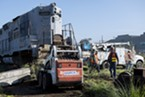 Crews worked last week to move four locomotives owned by Matt Monson from the Balloon Track, where they have been for more than a decade, across Commercial Street. The locomotives were being moved so their owner can dismantle them and ship them to Turlock.