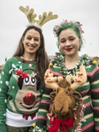 Mother and daughter Cassandra Thompkins (left) and Peara Jiroudek, of McKinleyville, displayed their ungulate-themed sweaters.