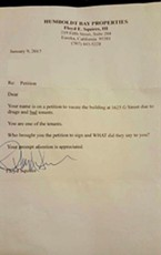 A letter Floyd Squires sent to one of his tenants.