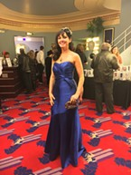 All in blue, Wendy Burns' fascinator was a gift from her husband.