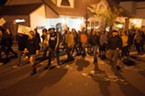 Demonstrators marched up G Street from the Arcata Plaza.