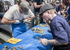 Members of the Humshuckers (Zack Mathiu, left, of Eureka, and Stephan Park, of McKinleyville) were back after four consecutive wins to defend their title in the oyster Shuck-n-Swallow Contest.